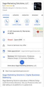 Sage Marketing Solutions on Google